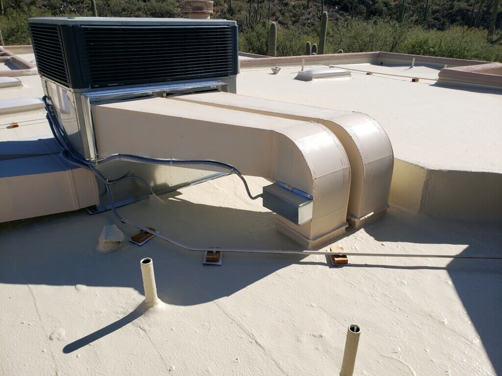 Residential AC unit on a desert home
